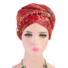 Voile Necklace Scarf Ethnic Style Dye Print Muslim Hat Turban Cap Arab Wrapped Head Scarf Women Hijab Bandanas Headwear casual poppy print voile scarf