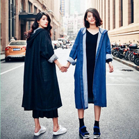 DoreenBow New Design Spring Autumn Lady Long Jeans Jacket Women Blue Denim Punk Style Jackets Coat