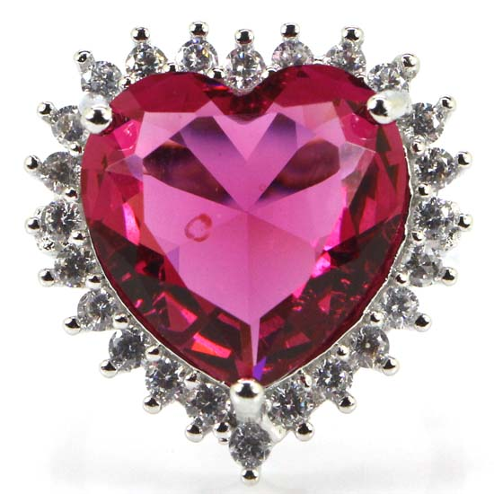 8,5 # impresionante gran corazón turmalina Rosa Blanco CZ señoras parte anillo de plata 22x21mm