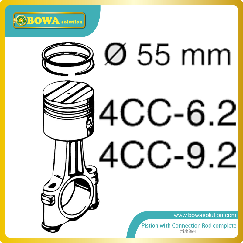S4 cylinder Dia.55mm piston with connection rod complete for bitzer 6HPand 9HP refigeration compressor changchai 4l68 engine parts the set of piston piston rings piston pins