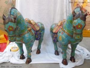 16 Inch Chinese Old bronze cloisonne carved flower pattern horses pair statues