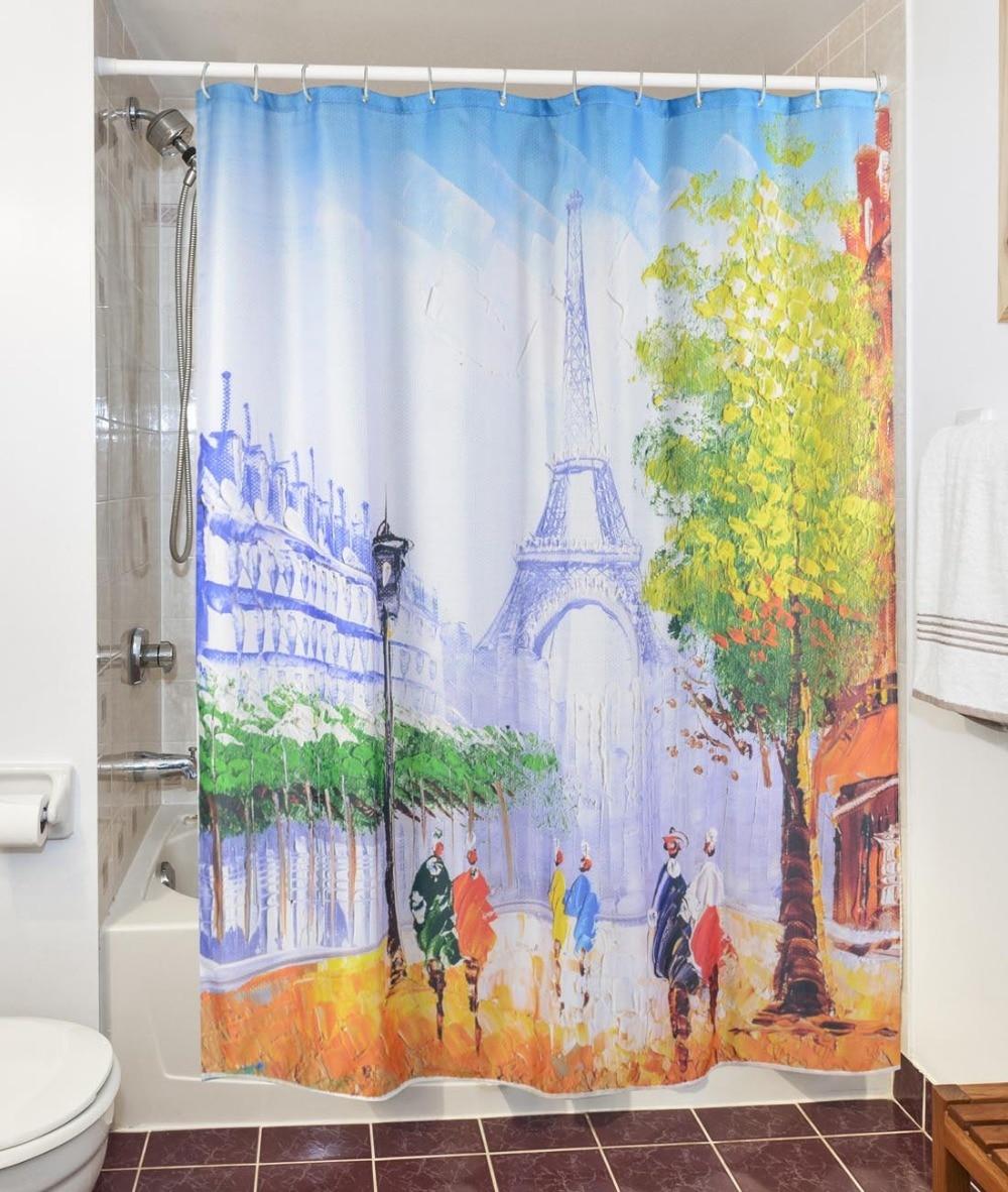 Fabric paris shower curtain - Warm Tour 3d Modern Paris Tower Scenery Shower Curtains Waterproof Polyester Fabric Bathroom Curtains Bath Curtain