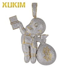 Xukim Jewelry Gold Silver Color Dollar Gangster Kid Pendant Hip Hop Bing Bilng Iced Out Cartoon Men Money Bag Pendant Necklace xukim jewelry bing bing gold halloween top