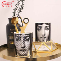 Fornasetti Makeup Brush Holder Ceramic Dressing Table Organiser Pencil Cup Decorator Craft Home Vanity Bathroom Desk Decorations