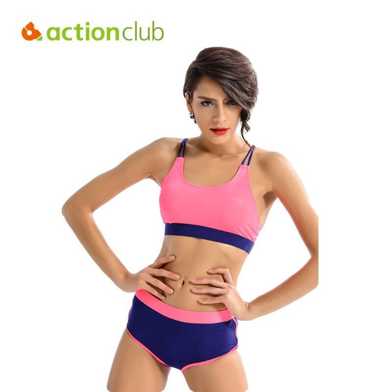 Actionclub mujeres de cintura alta traje de baño triángulo de dos piezas traje d