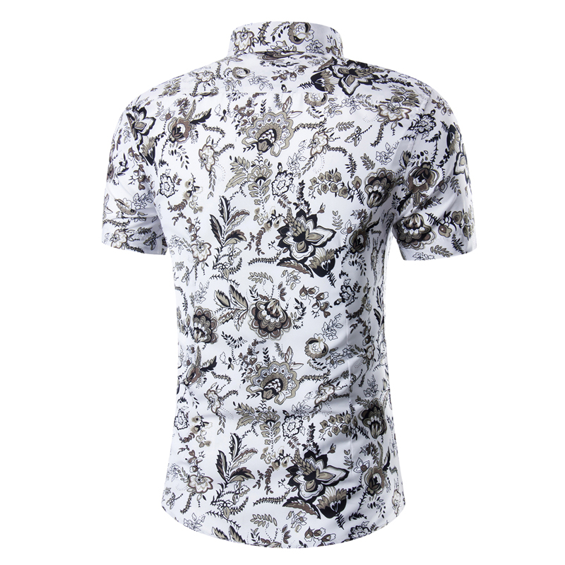b89b5ca7b39 2018 Fashion Men S Short Sleeve Hawaiian Shirt Summer Casual Floral Shirts  Fit For Slim Male Non-Iron Shirt Asian Size M-5XL