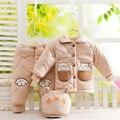 Conjunto de Inverno de Espessura de 0 a 12 Meses do bebê Bebê Meninos Casaco de Roupas meninas Se Adapte Crianças Infantis Bebe Algodão Casaco + calça + Chapéu