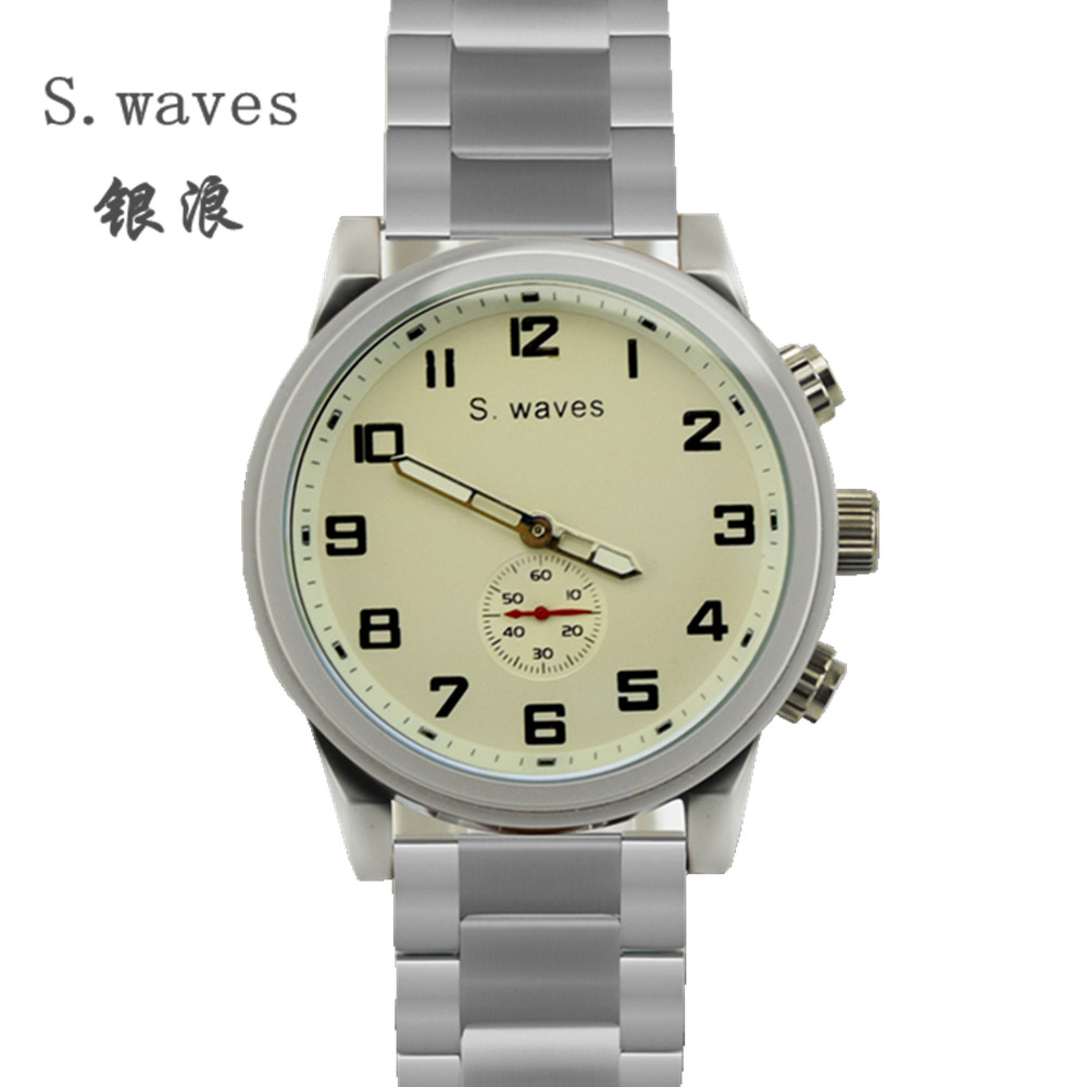 Famous Brand S waves Clock Casual Fashion Army Table Quartz Watches American Men s Wolf Stainless