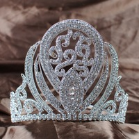 Luxurious Queen Crown Handmade Bridal Wedding 5 Rhinestone Princess Full Circle Tiara Pageant Party Costumes Fashion Jewelry