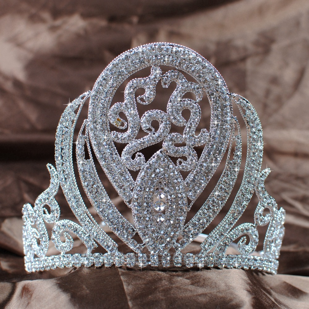 Crowns full circle round tiaras rhinestones crystal wedding bridal - Luxurious Queen Crown Handmade Bridal Wedding 5 Rhinestone Princess Full Circle Tiara Pageant Party Costumes Fashion Jewelry