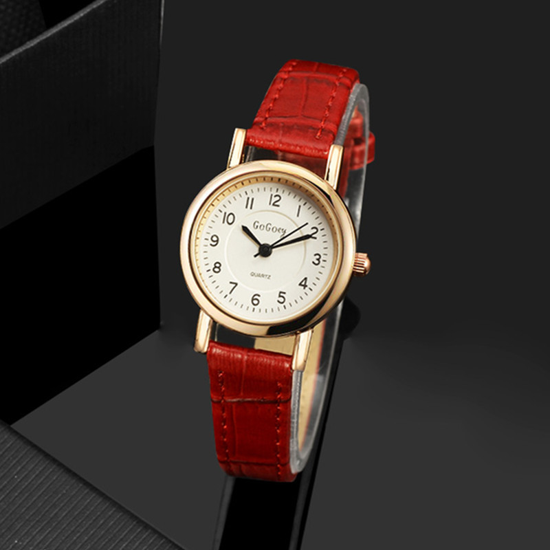 Gogoey Women's Watches Slim Leather Strap Red Women Watch Women Watches Fashion Ladies Watch Clock Reloj Mujer Relogio Feminino