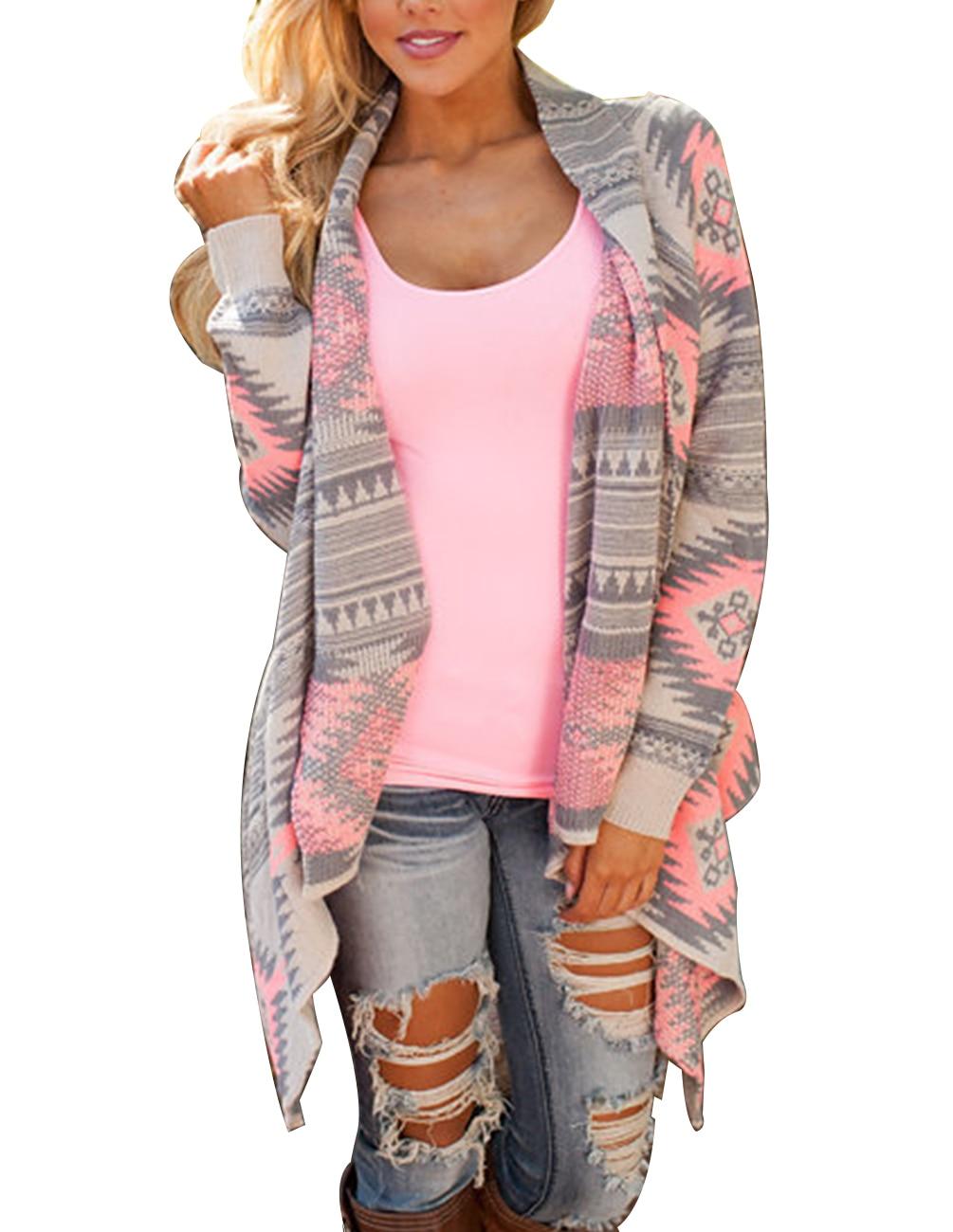 1P Fashion Winter Knitted Cardigan Long Sleeve Poncho Sweaters Print Colorblock Irregular Long Sleeve Warm Sweater Cardigan Warm