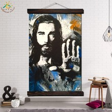 Result for Jesus Modern Wall Art Print Pop Picture And Poster Solid Wood Hanging Scroll Canvas Painting