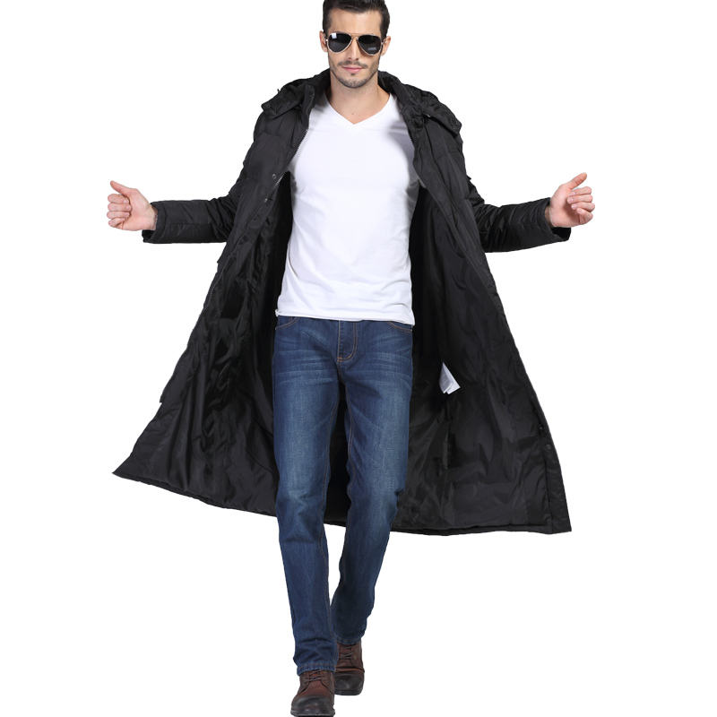 20176 winter mens long down jacket over the knee large size 3XL business casual coat thick white high-quality duck down MK472