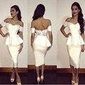 Middle East 2016 Saudi Arabia Mermaid Cocktail Dress Ivory Lace Applique Tea Length Short Prom Dress Vestido De Festa Curto