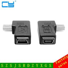 Universal short Right + Left 90 Degree Cable Mini B male to USB Mini B Female extention Data Adapter for Camera GPS MP3 ect