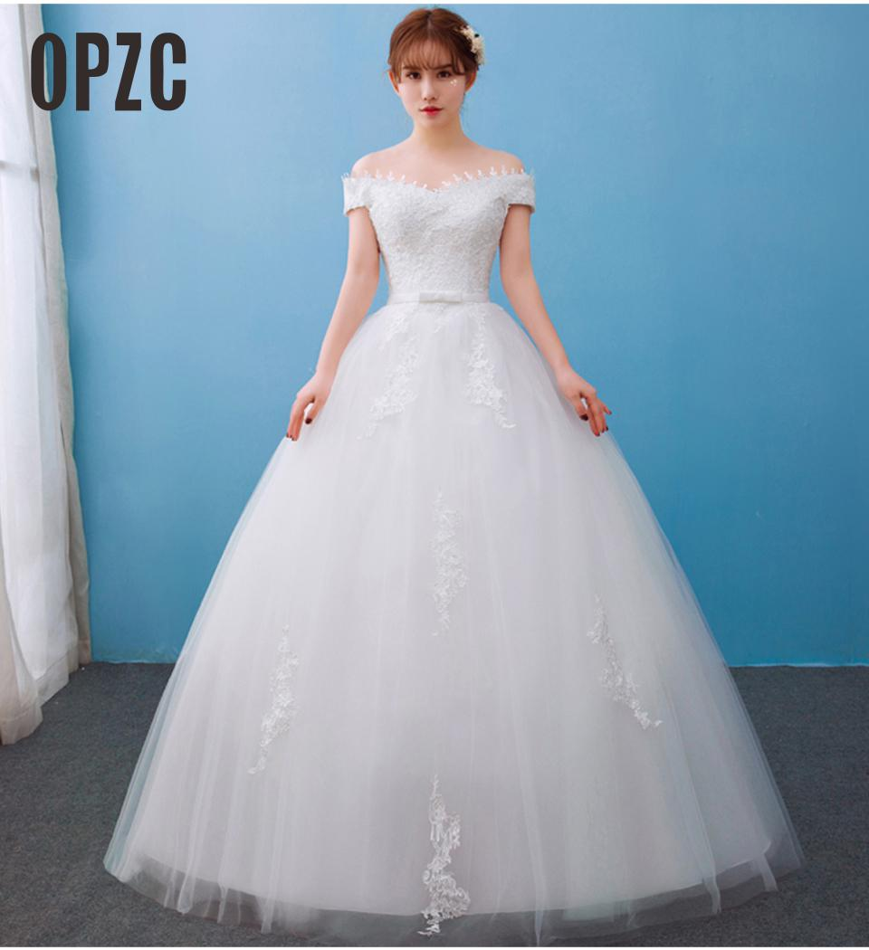 Off white Real Photo Customized Boat Neck Princess Korean style Wedding Dresses 2019 vestidos de noiva