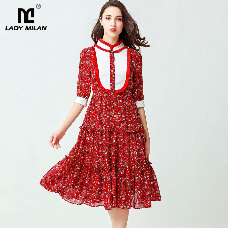 New Arrival 2018 Womens Stand Collar Half Sleeves Floral Printed Ruffles Patchwork Fashion Casual Dresses