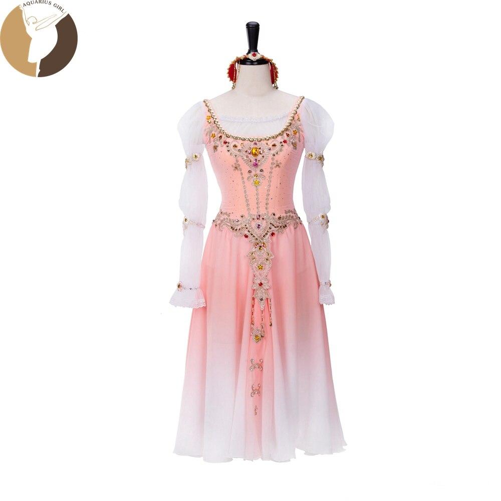 Woman Adult Long Chiffon Skirt Ballet Performance Costume Elastic Fabric Orange Color Long Dress Ballerina Competition Dancewear