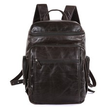 Vintage 100% Guarantee Real Genuine Leather Men Backpacks Cowhide Leather Laptop Backpack Men's Travel Bags #MD-J7202
