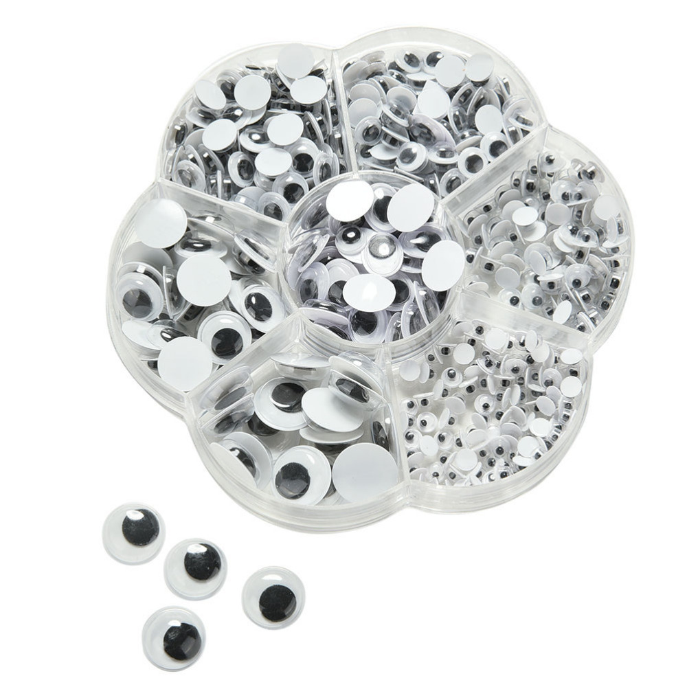 Self Adhasive Plastic Movable Black Googly Eyes 4mm/5mm/6mm/7mm/10mm/12mm 500pcs Doll Accessories цены онлайн