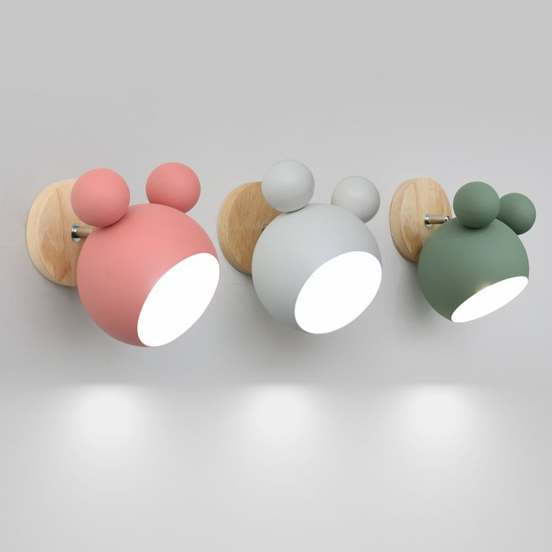 <font><b>Nordic</b></font> Mickey <font><b>Wall</b></font> <font><b>Lamp</b></font> Modern Lovely Bedroom Bedside Sconce <font><b>Wood</b></font> <font><b>Wall</b></font> Light Fixtures iron decor Children's Room Study Luminaire image