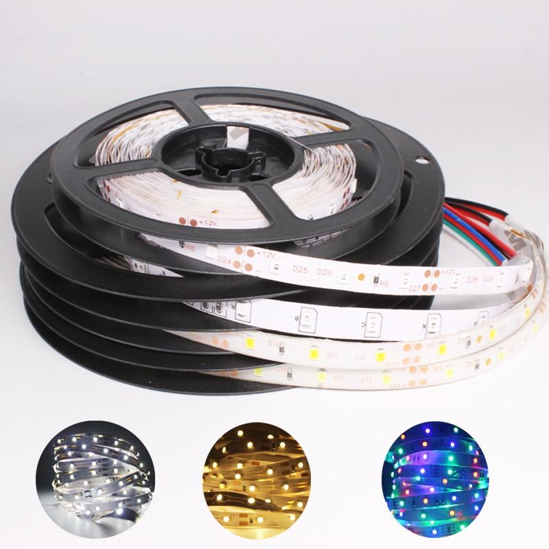 Водонепроницаемая светодиодная лента RGB, 12 в пост. Тока, 5 м, 2835, красный, синий, зеленый, желтый, 1 5 м, 60 Светодиодный/м, гибкая лента RGB, 1 м, 2 м, 3 м, 4 м, 5 м Светодиодные ленты      АлиЭкспресс