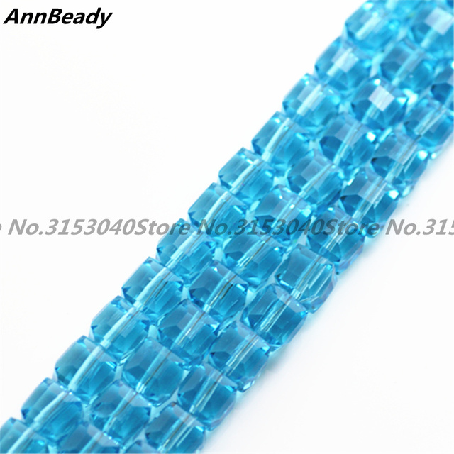 100pcs Lake Blue Color 8mm Facet Square Cube Cut Er Austria Crystal Beads For Diy Jewelry