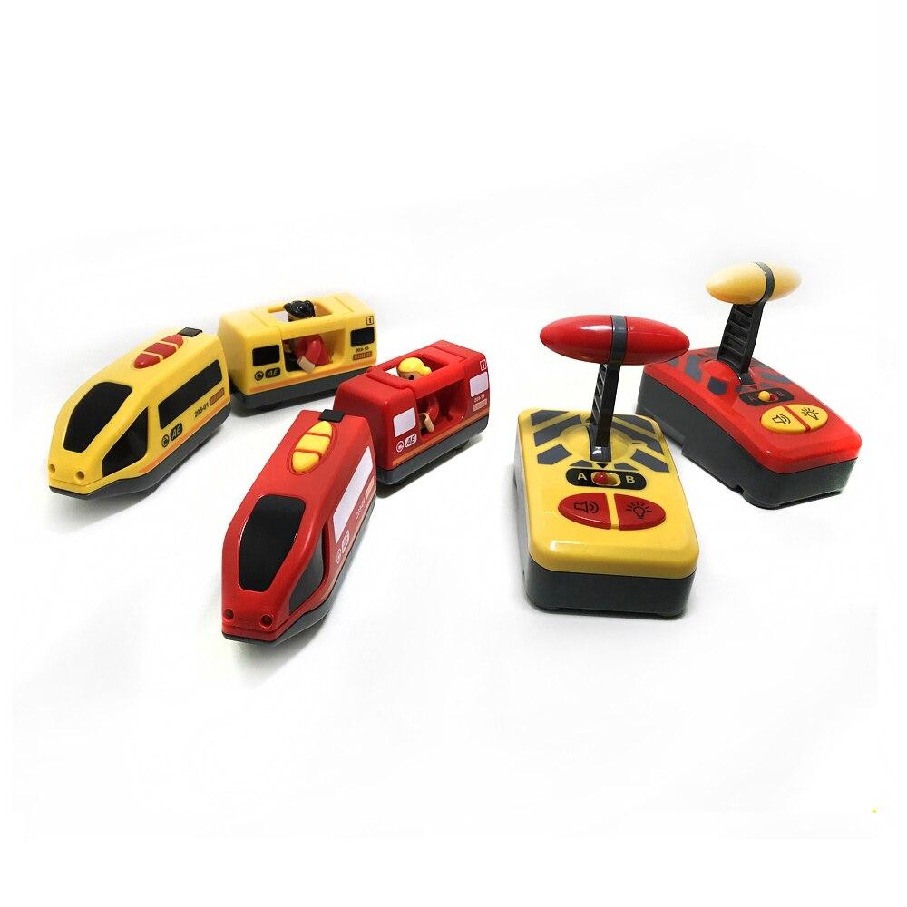W06-1 novo controle remoto magnético trem elétrico compatível com brio trilha de madeira vermelho branco trem elétrico crianças brinquedo pista