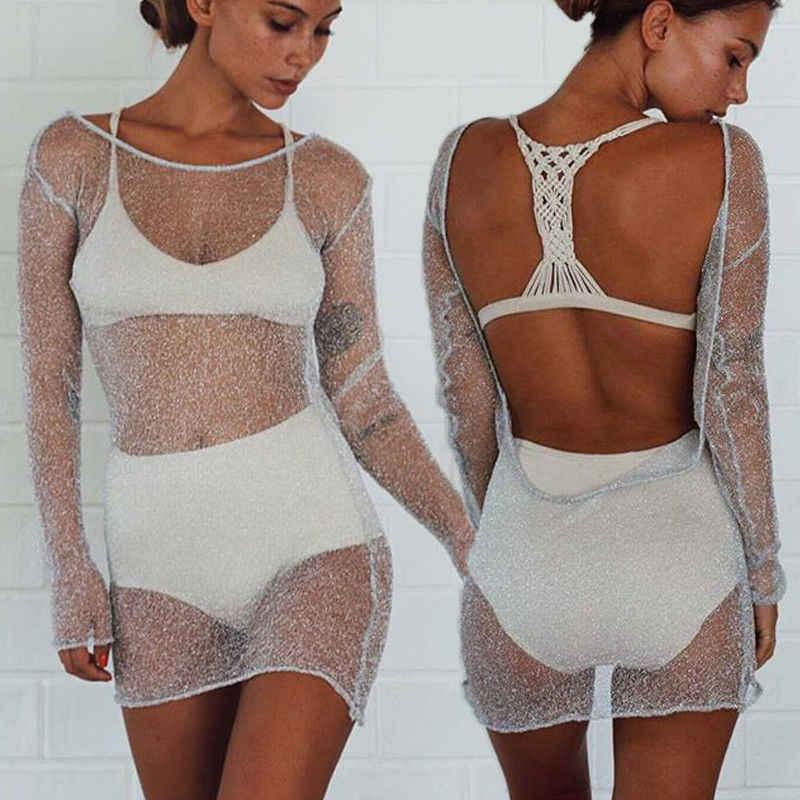 Minivestido Sexy ajustado de malla transparente para mujer vestido de alta calidad