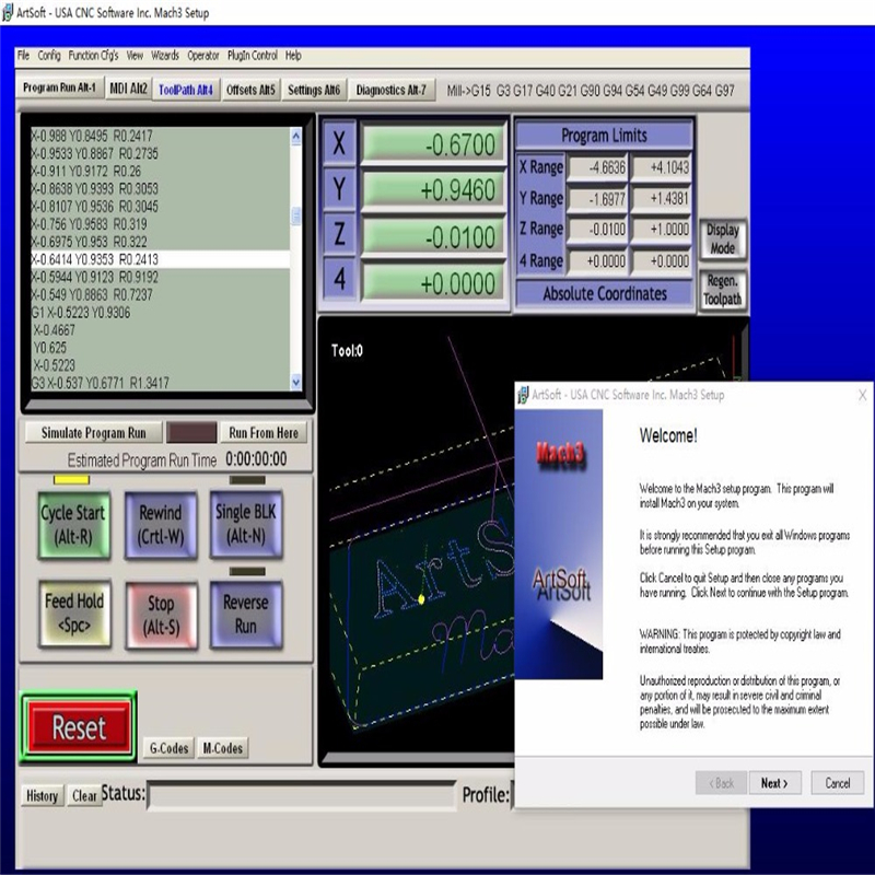 Engraving machine Mach3 controller software, English Mach3