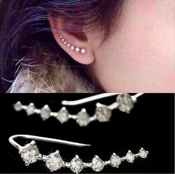 Trang sức Thời Trang 7 Sao Ear Cuff Earrings Đối Với Phụ Nữ Tinh Thể Cubic Zirconia Đơn Giản Bạc Clip on Earrings 2018 Brincos tai nhẫn