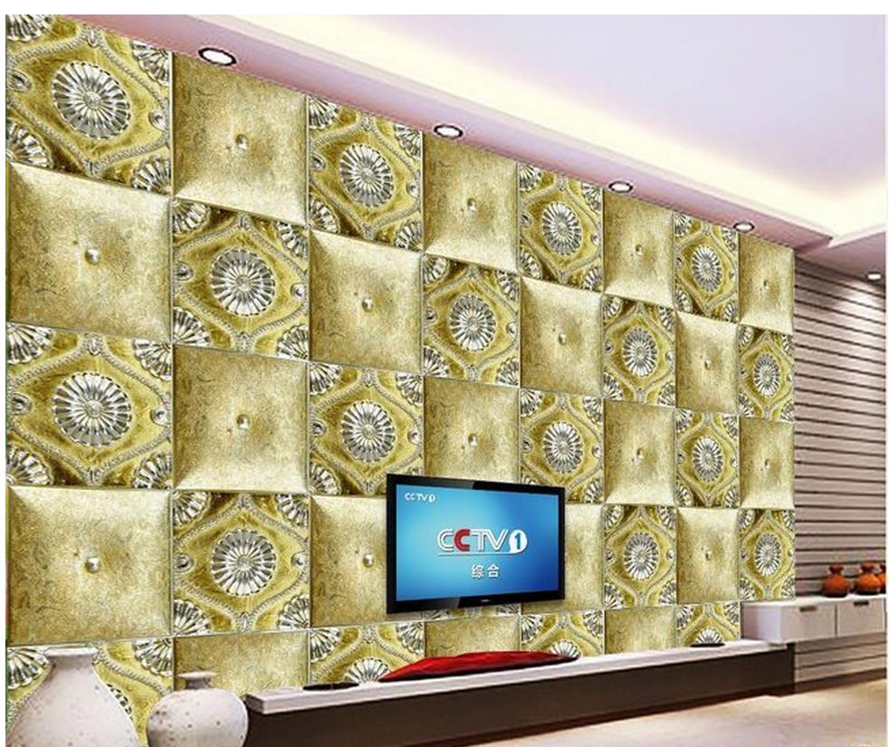 3d Wallpaper Gold Plated Resin Relief Background Wall