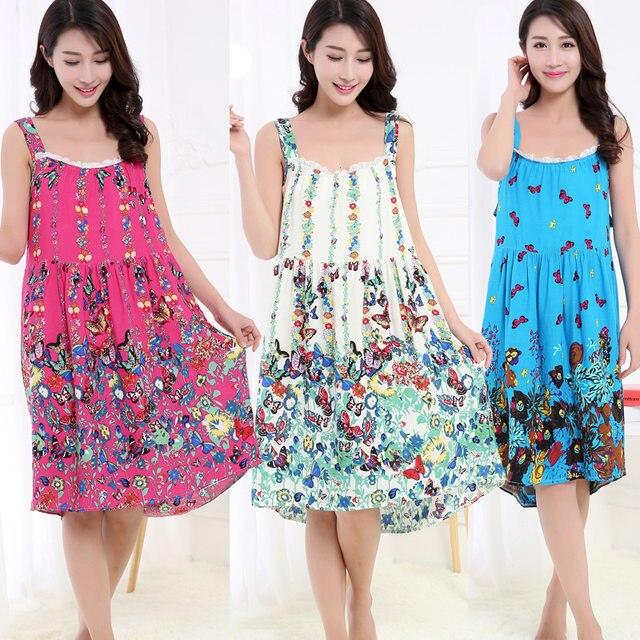 a871049ef8 Online Shop Women Cotton Nightgown Floral Sleep Dress Sleeveless ...