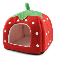 DSHA New Hot Soft Strawberry Pet Igloo Dog Cat Bed House Cushion Basket Red Red – M