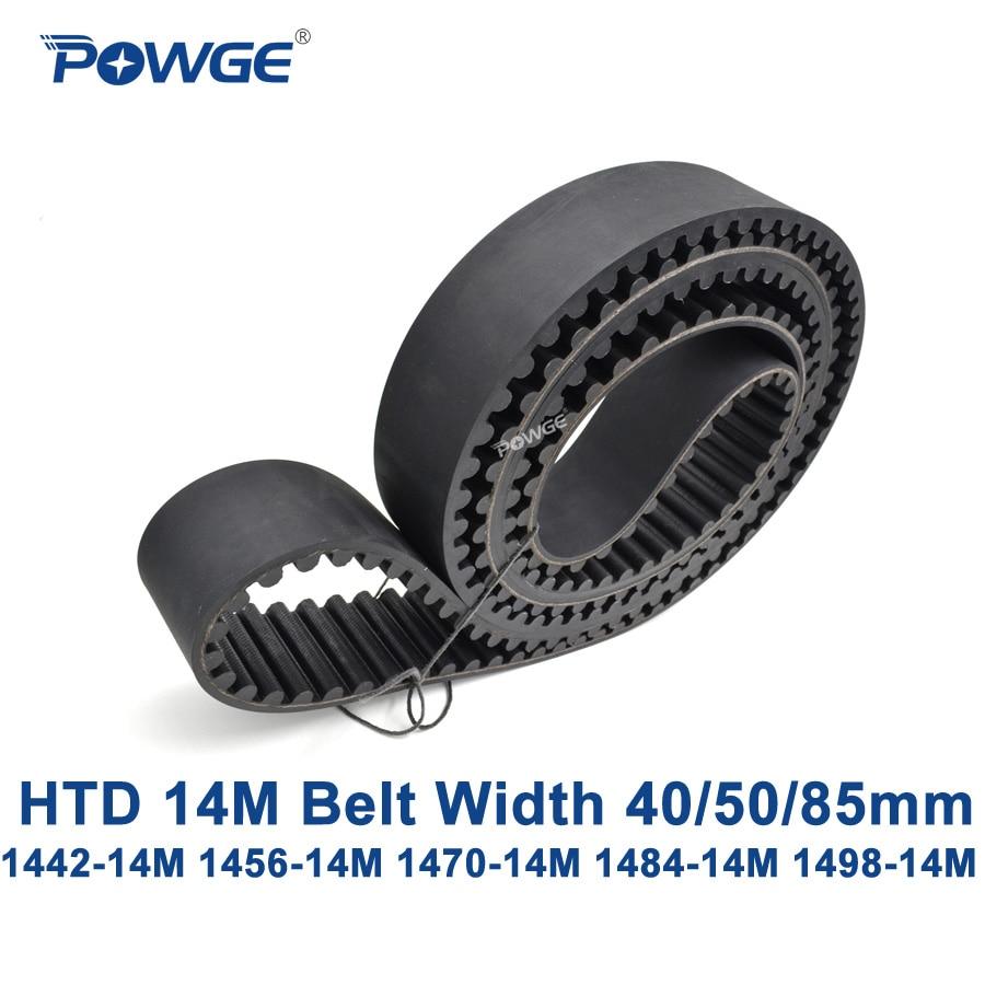 POWGE HTD 14M synchronous belt C=1442/1456/1470/1484/1498 width 40/50/85mm Teeth 103 104 105 106 107 HTD14M 1456-14M 1498-14M 5032 osc 5x3 2mm 14m 14mhz 14 000mhz