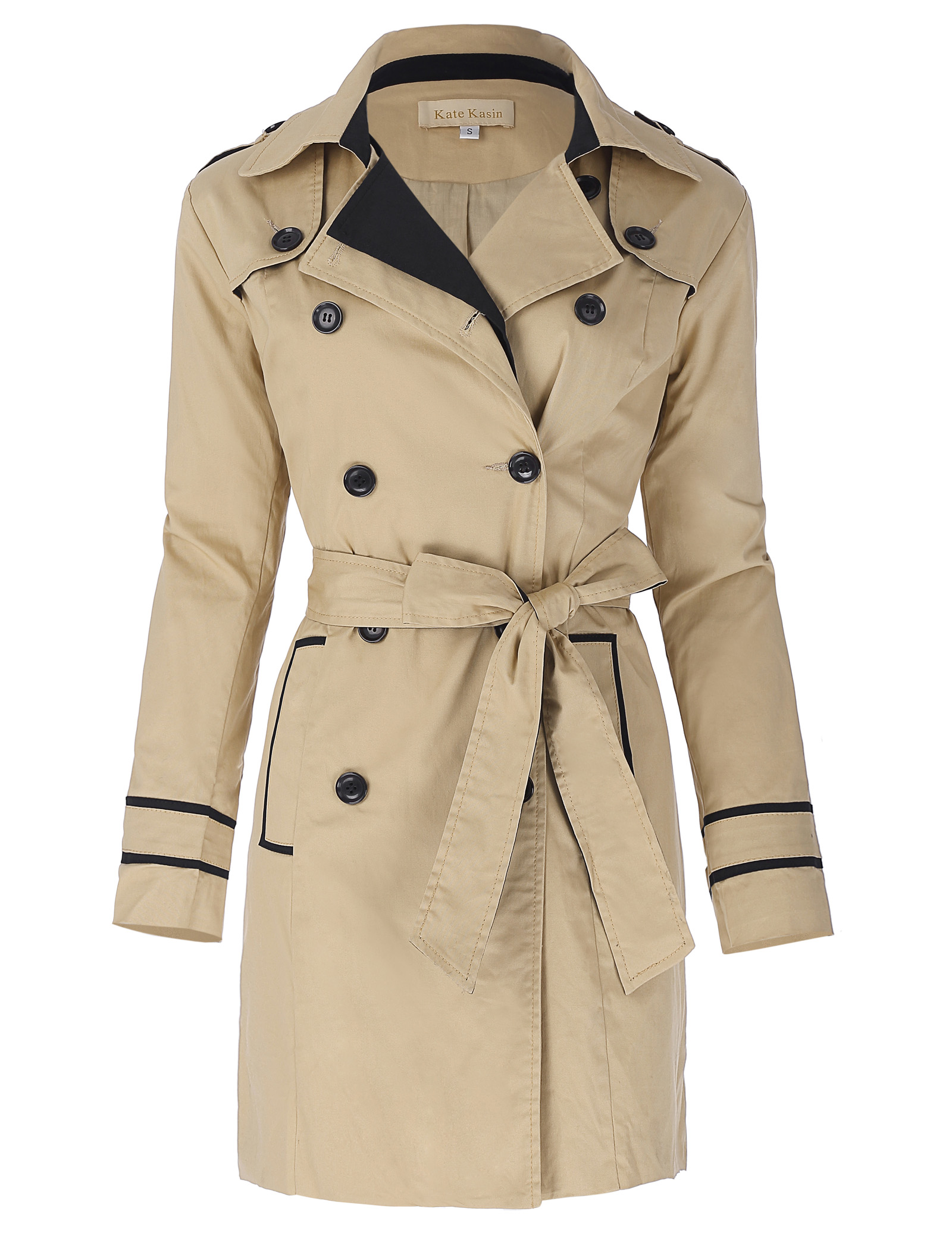 classic Khaki   trench   Women clothes Autumn Winter Stylish & Slim Fit Lapel Collar Double Breasted coat Cotton   Trench   solid tops