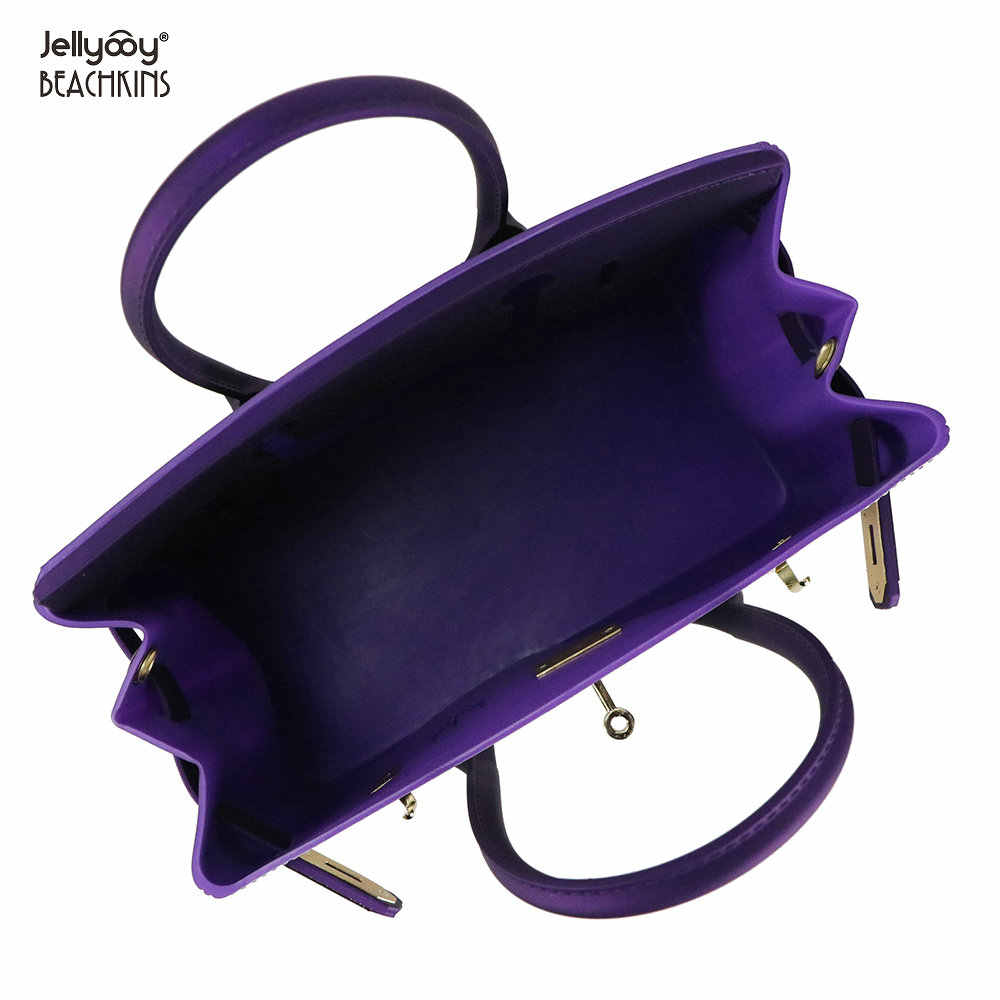 a29089074e ... Jellyooy Beachkins Women s Padlock Flap Luxury Classic Handbags Matte Jelly  Bags Floral Girls 3D Printing Pattern
