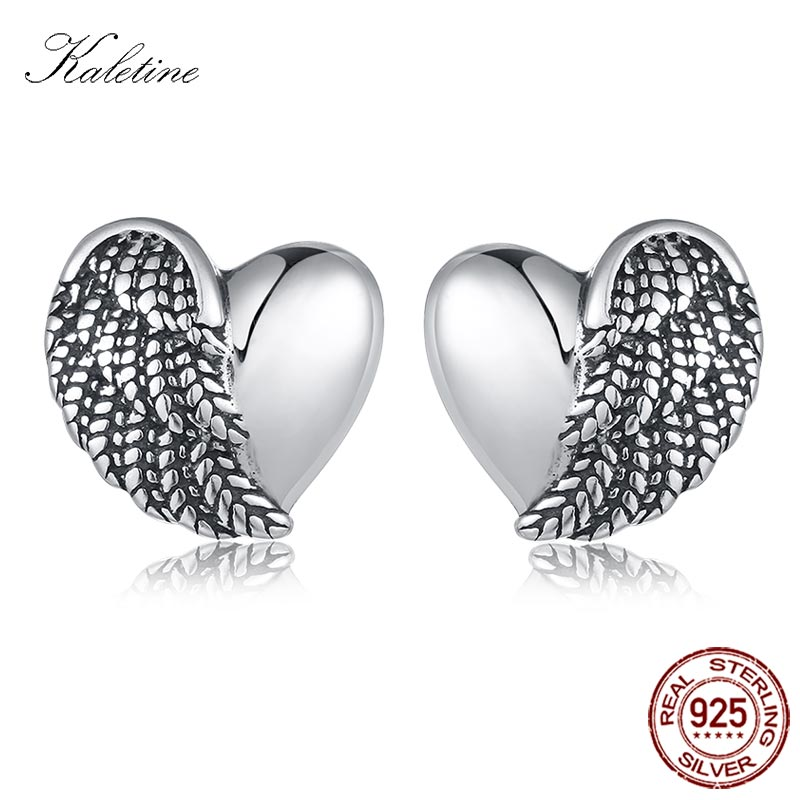 KALETINE Heart Angel Wings Earrings Stud Sets Love Sterling 925 Silver Stud Earrings For Men Women Vintage Jewelry Gift KLTE059