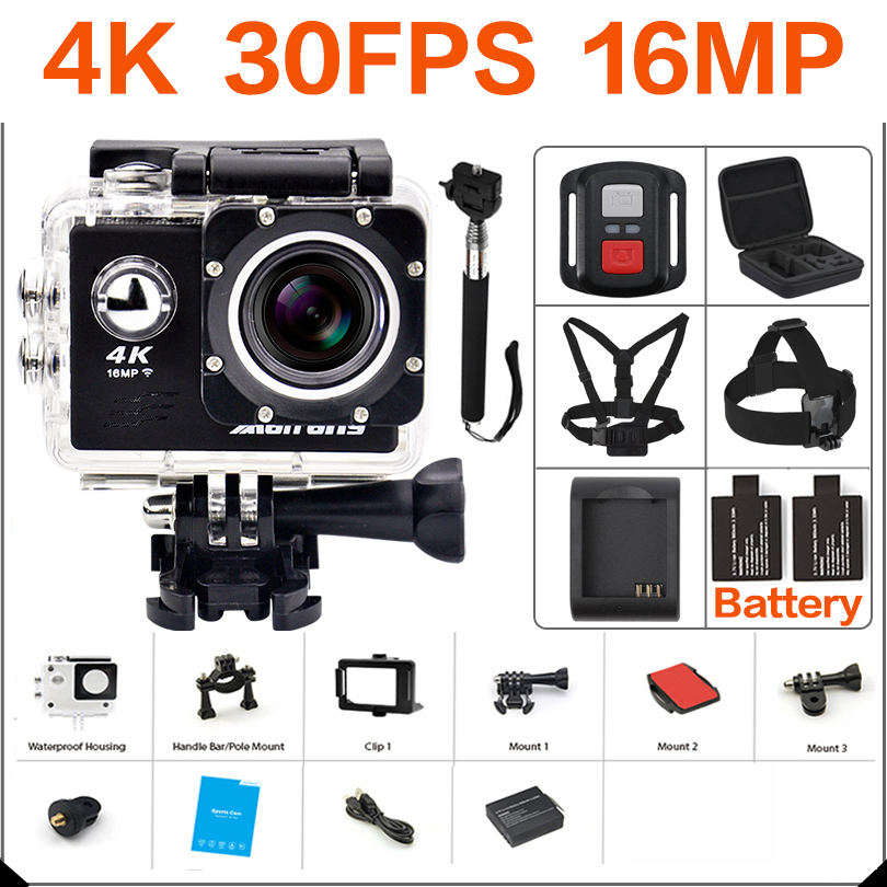 Ultra HD 4 K Câmera de ação wi-fi 16MP Filmadoras 170 ir cam 4 K deportiva 2 polegada f60 Câmera pro 1080 P 60fps À Prova D' Água Esporte cam