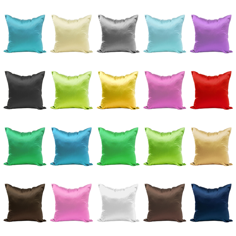 Satin Pillowcases With Zipper Us 1 61 26 Off New Smooth Silk Satin Pillowcase 45cm Solid Color Cushion Cover Home Decor Pillowcase Sofa Cushion Case With Hidden Zipper In Cushion