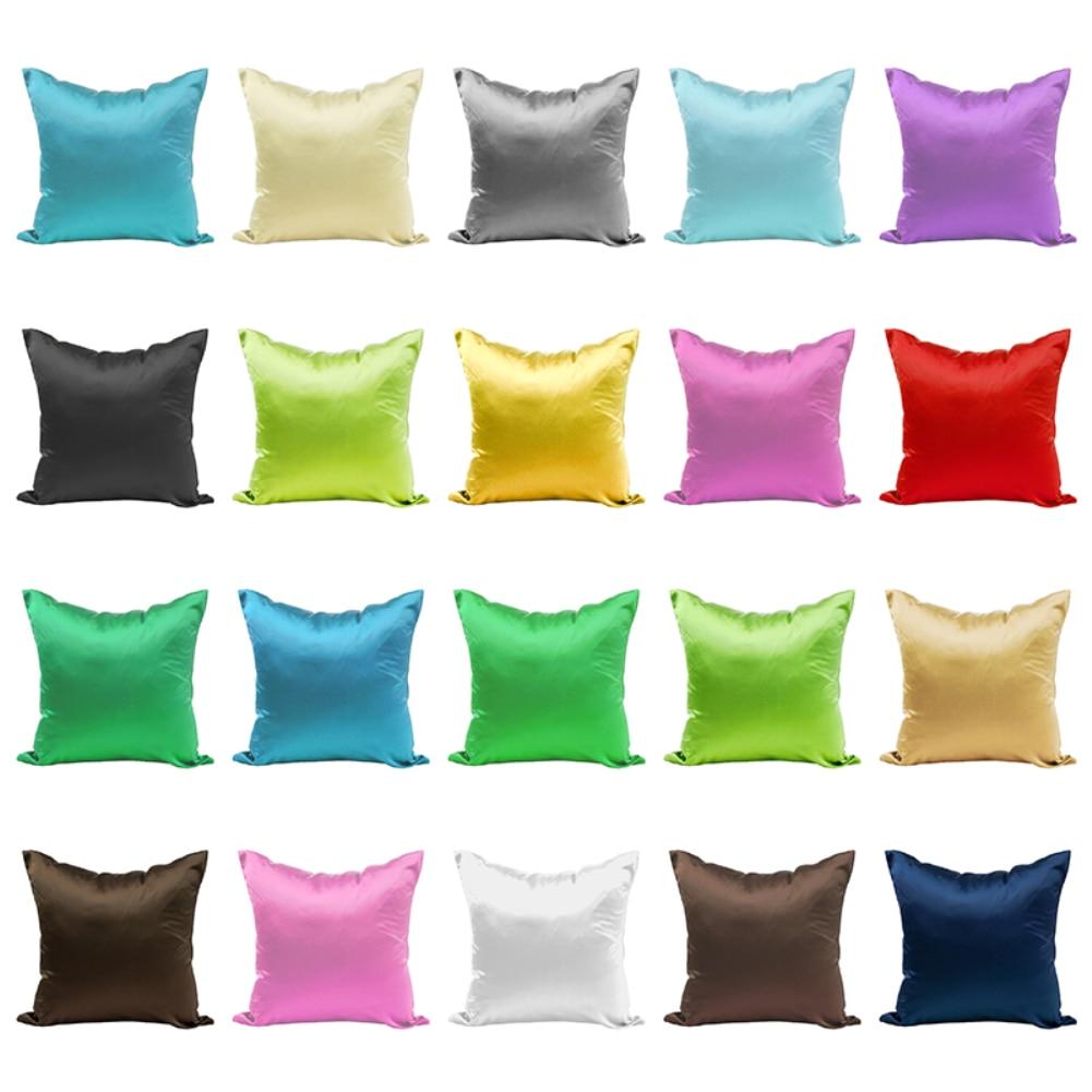 New Smooth Silk Satin Pillowcase 45cm Solid Color Cushion Cover Home Decor Pillowcase Sofa Cushion Case With Hidden Zipper
