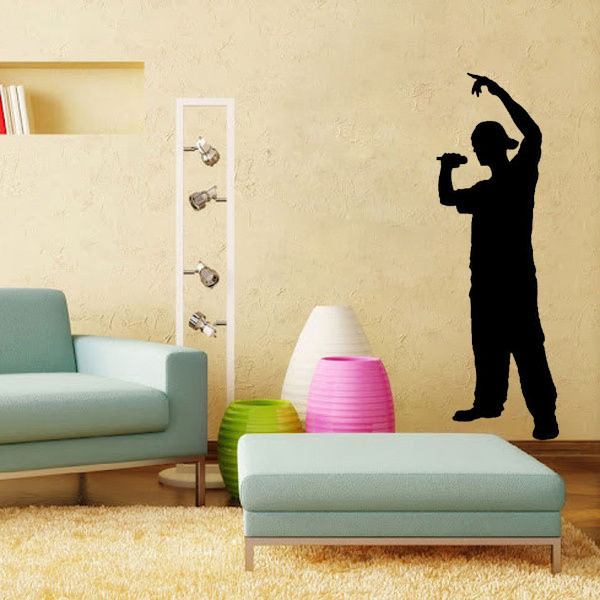 Rapper Silhouette Kids Music Room Decoration Wall Art Decals Quote Living Room  Decorative Stickers Wall Paper Part 43