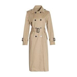 Image 3 - Chiceverの秋のコートルースウインドブレーカー女性特大長袖ハイウエストサッシコートと女性の衣類のファッション