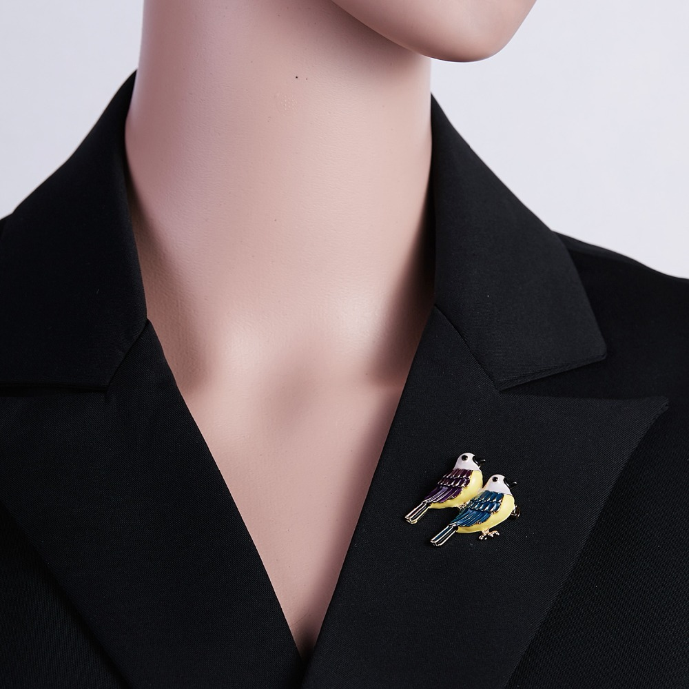 Fashion Handmade Cute Birds Parrot Pin Brooches for Women Enamel Pin Crystal Animal Baby Bird Brooch Pin Christmas Jewelry in Brooches from Jewelry Accessories