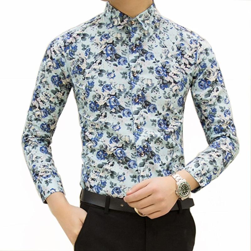 HCXY 2019 New Fashion Spring Men's Casual Shirts Men Long sleeve Slim fit Shirt camisas masculinas small floral Printing design