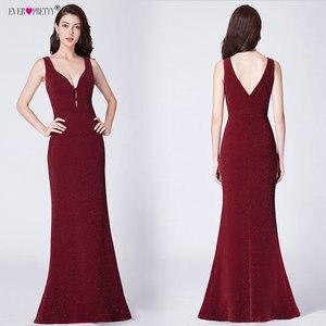 Image 3 - Ever Pretty с высоким разрезом, вечернее платье Формальное вечернее платье с блестками Элегантные Русалка V образным вырезом платья для вечеринки с открытой спиной халат De Soiree EP07417BD