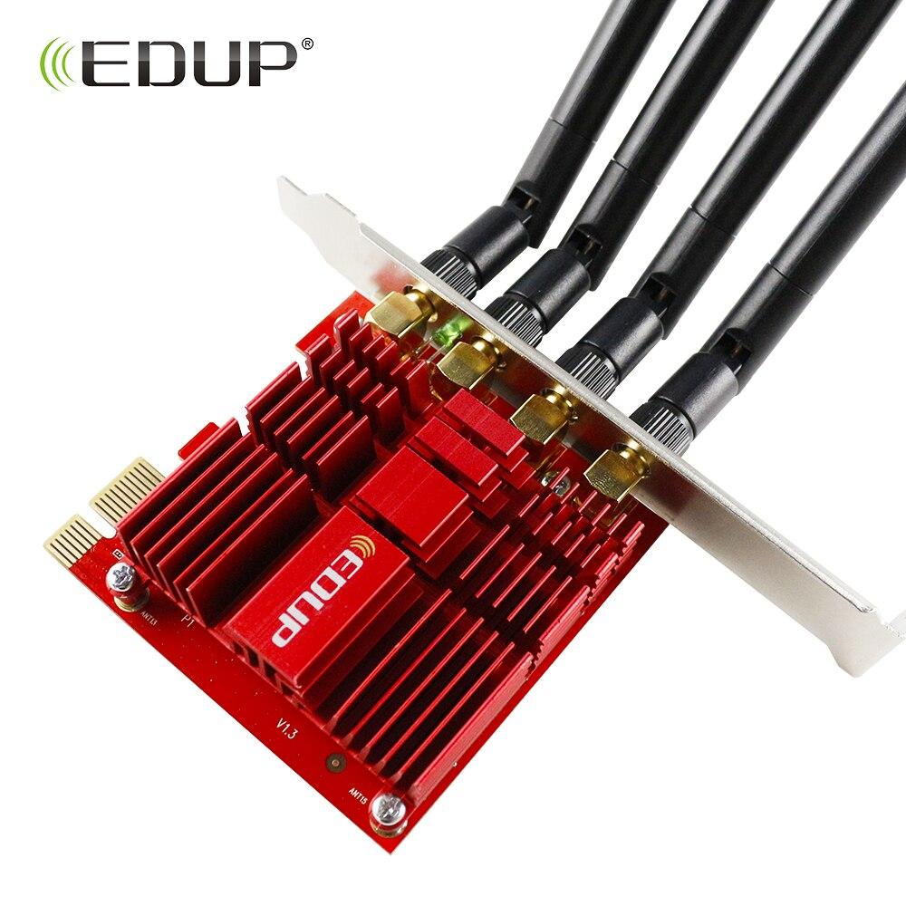 Double bande EDUP 1900 Mbps PCI Express sans fil adaptateur WiFi 802.11AC 2.4/5 Ghz PCI-E carte réseau 4 * 5dBi antennes pour Win 7/8. 1/10