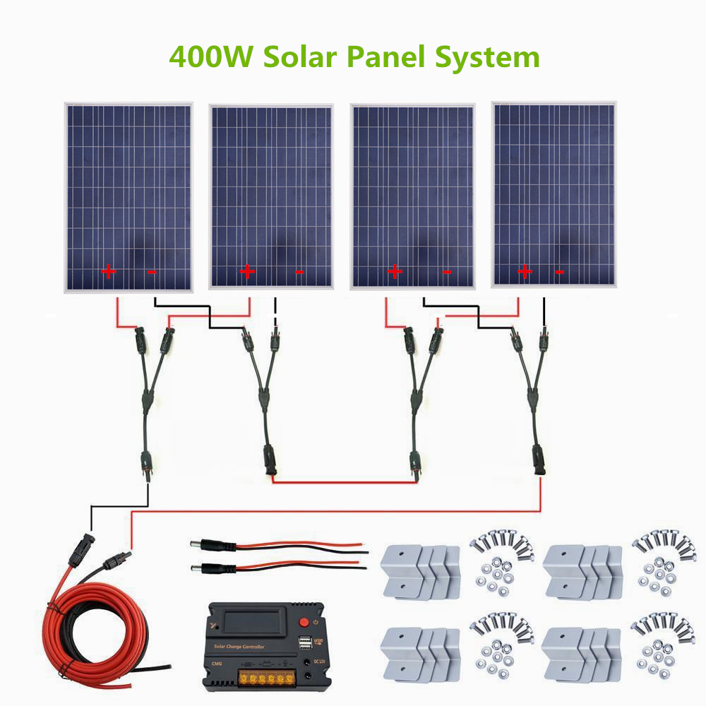 400w Solar System Kit 4 X 100w Solar Panel 20a Temperature