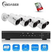 WOASER 48V 4CH HD 1080P HDMI P2P POE NVR Surveillance System Video Output 4PCS 2 0MP